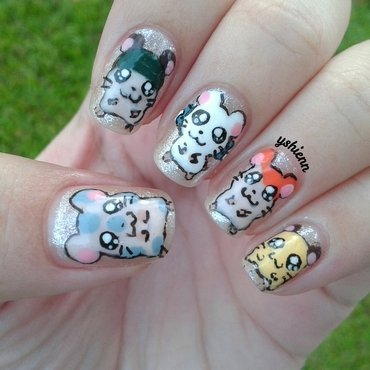 Hamtaro nail art by Shien