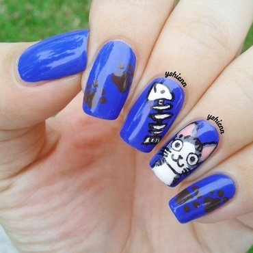 Chi the cat nail art by Shien