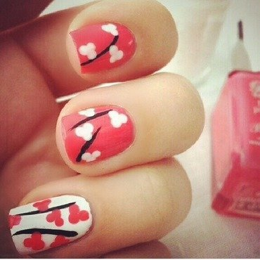 Pink and white flowers nail art by NailGals