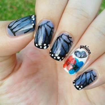Monarch butterfly nail art by Shien