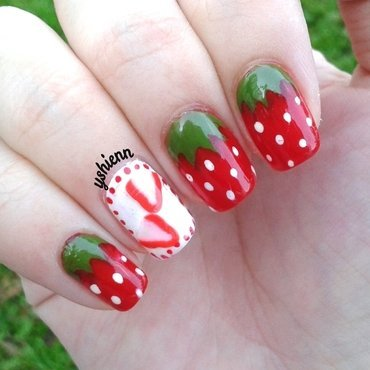 Strawberries nail art by Shien
