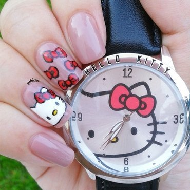 Hello kitty nail art by Shien