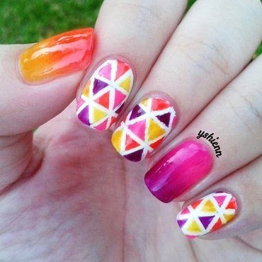 Neon geometric nail art by Shien