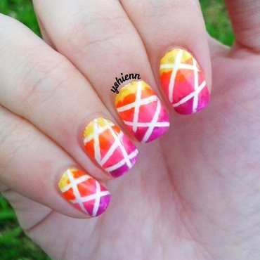 Neon stripes nail art by Shien