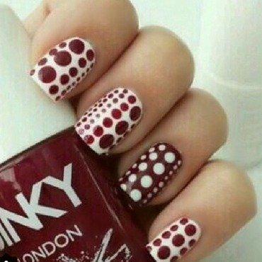 Brown and white polka dots nail art by NailGals