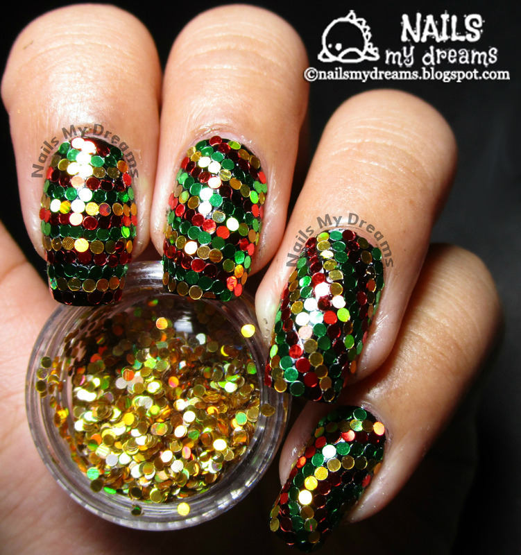 Reggae Christmas Inspired Glitter Placement Nail Art Nail Art By Kat
