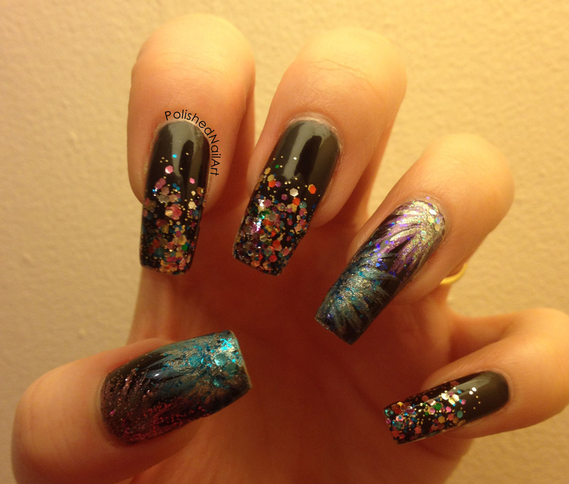Fireworks for Bonfire Night nail art by Carrie