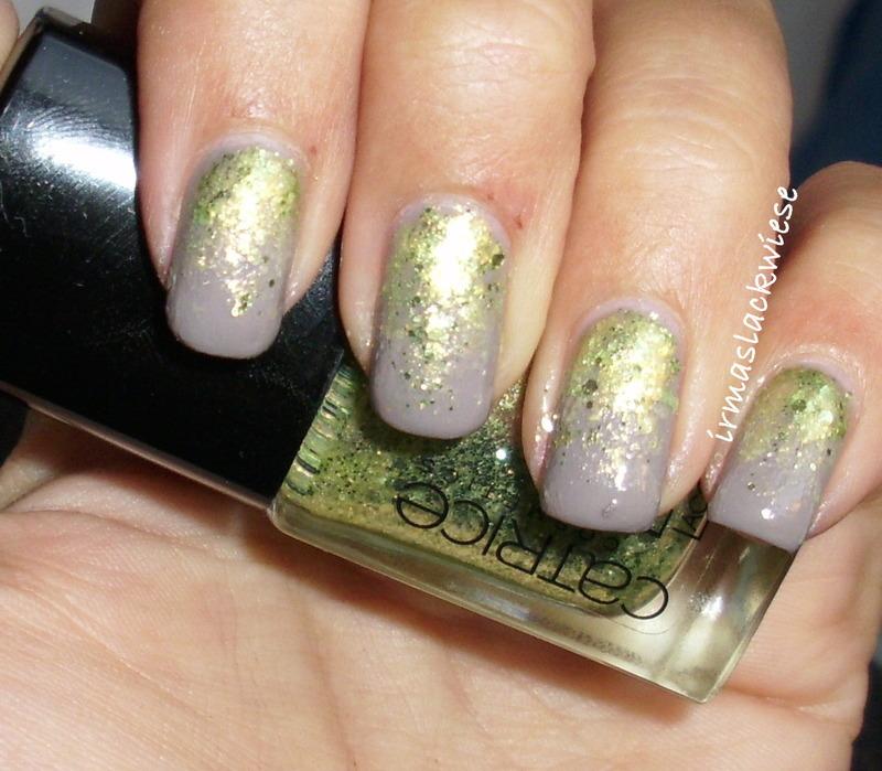 green glitter gradient nail art by irma