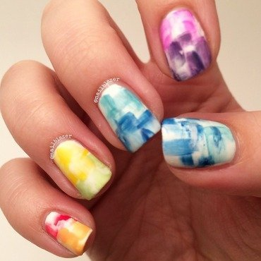 Rainbow Brush Strokes nail art by Nailblazer
