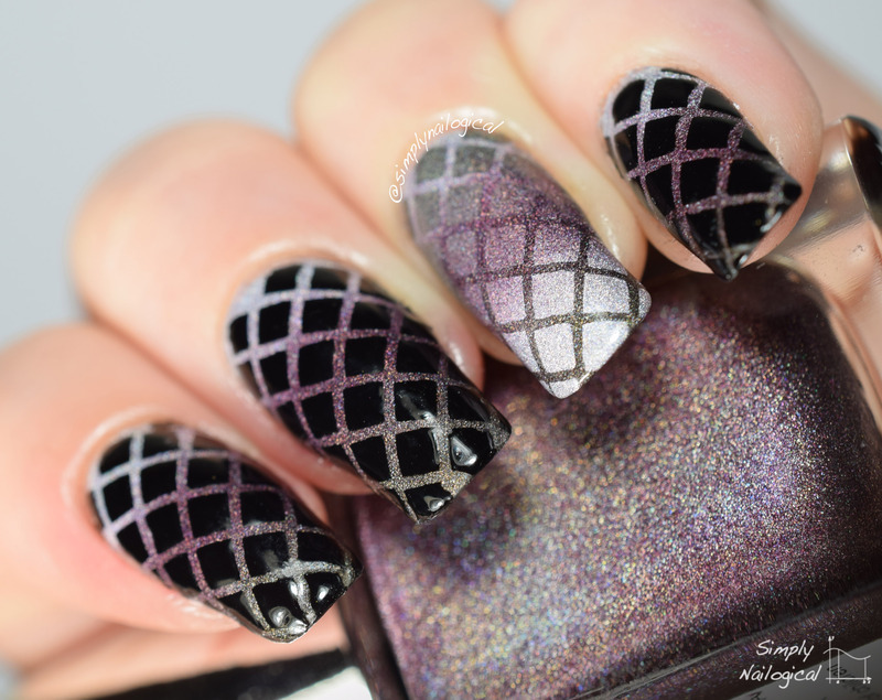 Edgy fishnet holo and black gradient combo nail art by ...