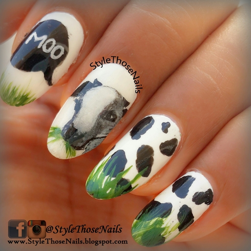 Cow in the pasture.  nail art by Anita Style Those Nails