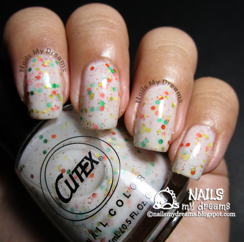 Cutex Vanilla with Sprinkles Swatch by Kat of NailsMyDreams