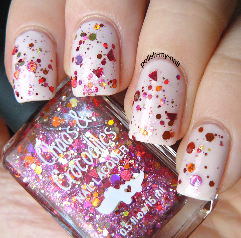Pink confetti nail art by Ewlyn