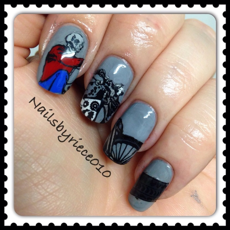 Skeleton Biker Nail Art By Riece Nailpolis Museum Of Nail Art