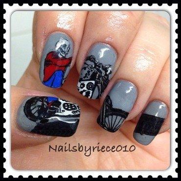 Skeleton Biker nail art by Riece