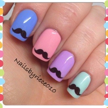 Movember nail art by Riece