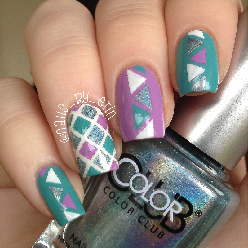 Geometric Striping Tape Nails nail art by Erin