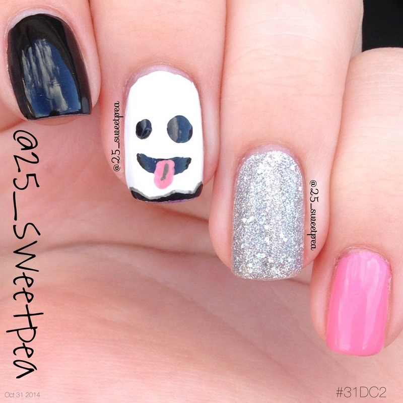Emoji Ghostie nail art by 25_sweetpea