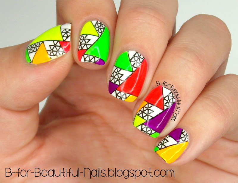 Neon Triangle Stamping Nail Art ♥ nail art by B.