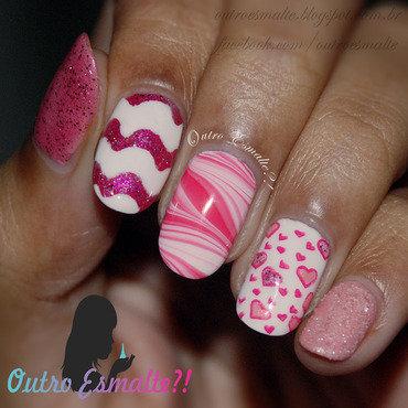 Mix 'n Match Pink nail art by Tatiane