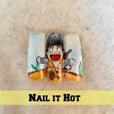 Dragon Ball,Goku nail art by Nail_it_hot