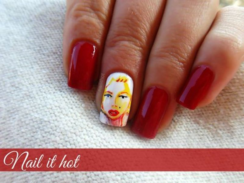 Quick sketch with colors of Marilyn Monroe nail art by Nail_it_hot ...