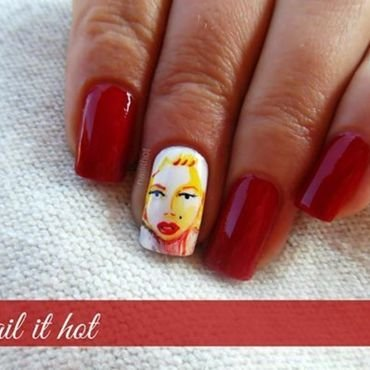 Quick sketch with colors of Marilyn Monroe nail art by Nail_it_hot