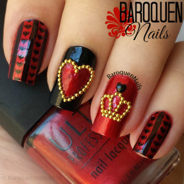 Queen of Hearts nail art by BaroquenNails