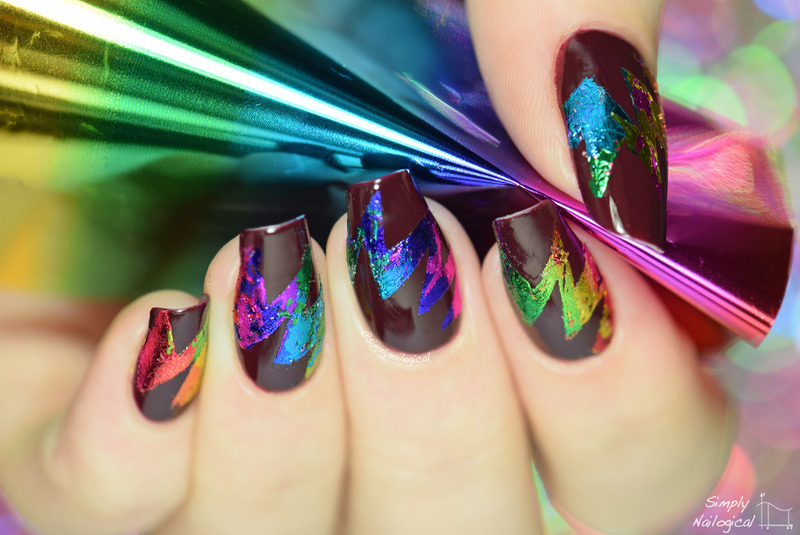 Abstract starburst rainbow foil nails nail art by simplynailogical