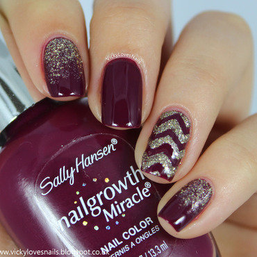 Purple and Gold Skittlette nail art by Vicky Standage