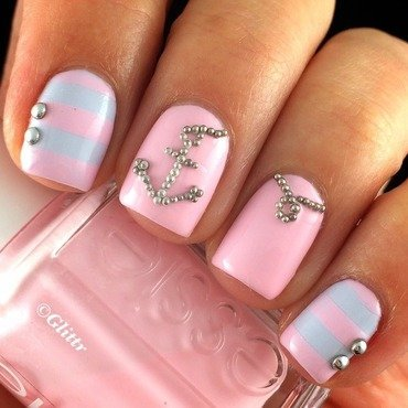 Pastel Nautical Nails nail art by Glittr