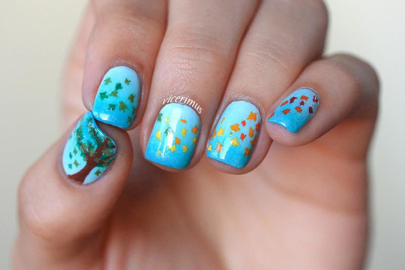 Autumn Leaves nail art by Yulia