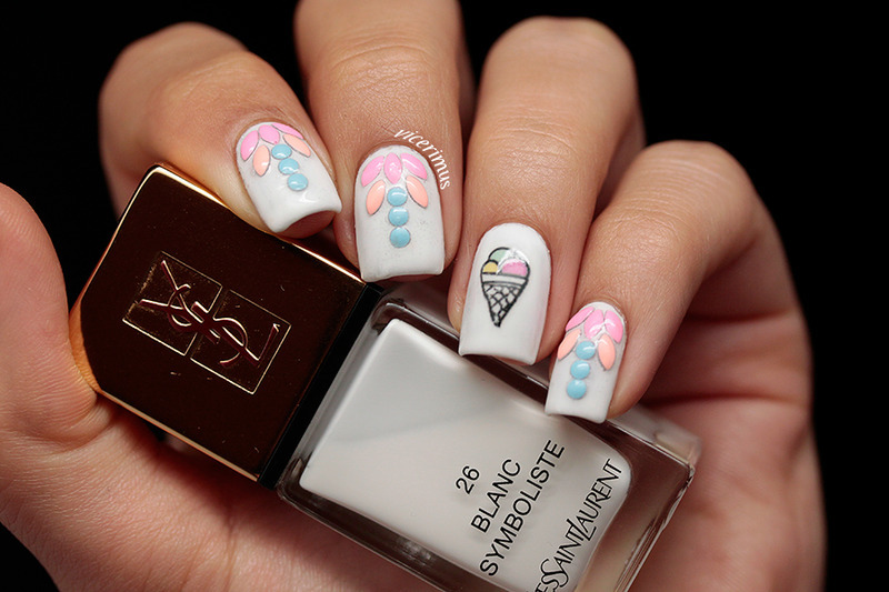 Ice Cream nail art by Yulia