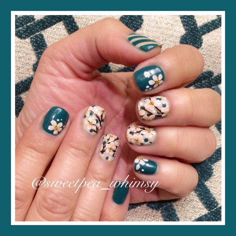 Cherry Blossoms & Teal nail art by SweetPea_Whimsy