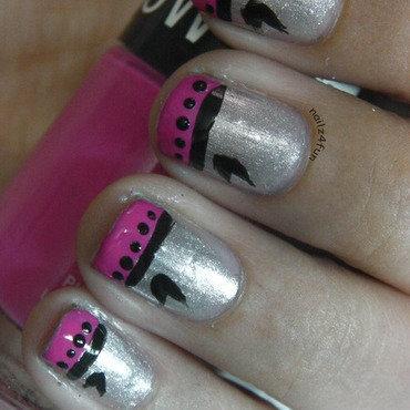 Pink & Silver French nails nail art by Nailz4fun