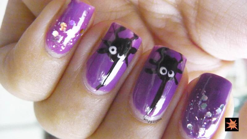 Spooky Spider Nails nail art by Nailz4fun