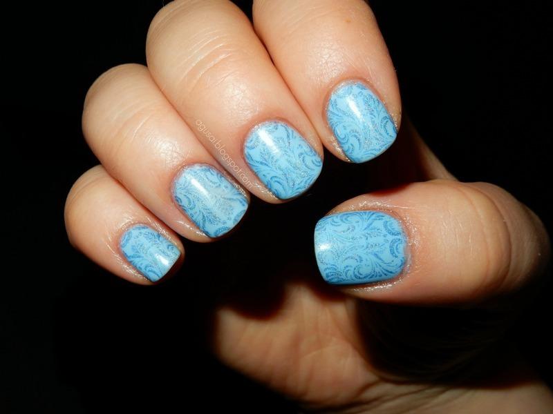 Heavenly blue nail art by Agni
