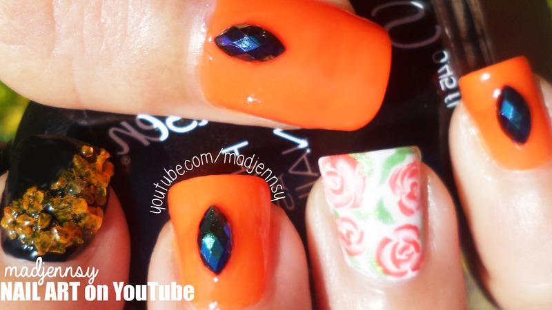 Vintage Roses Halloween Themed Nail Art nail art by madjennsy Nail Art