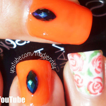 Vintage Roses Halloween Themed Nail Art nail art by madjennsy Nail Art