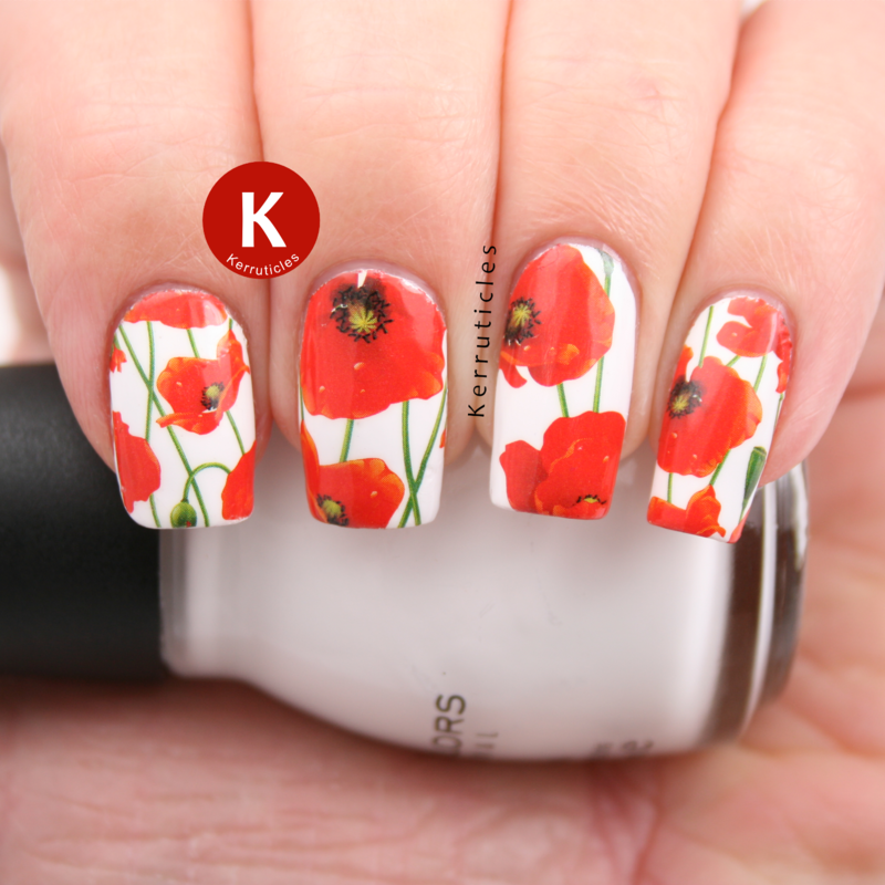 Poppies for Remembrance Sunday nail art by Claire Kerr