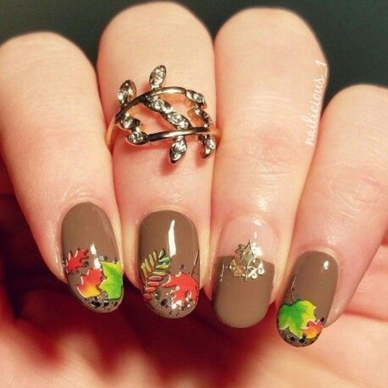 Autumn leaves nail art by nailicious_1