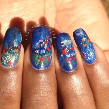 wild flowers 78 nail art by Tonya Simmons
