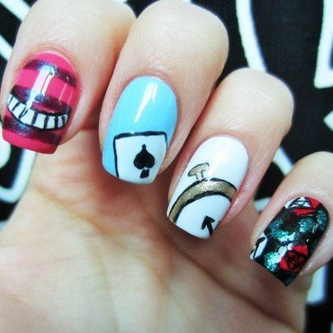 Alice in Wonderland nail art by Jane