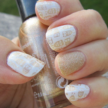 Golden Hootie Owls nail art by HELEN KAY