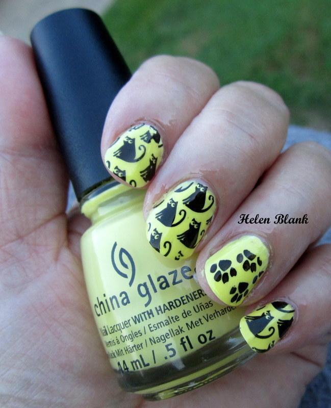 Black Cats and Lemonade nail art by HELEN KAY