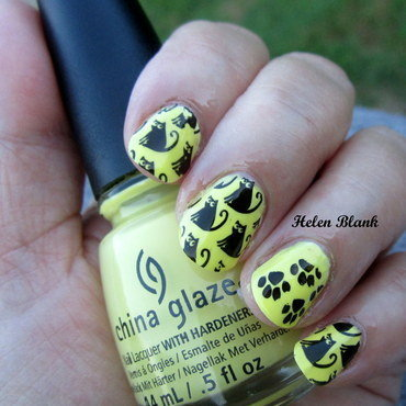 Black Cats and Lemonade nail art by HELEN KAY