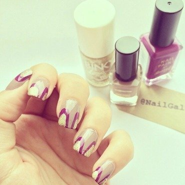Purple and Gold nail art by NailGals