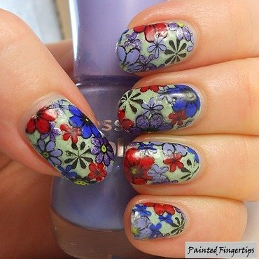 Floral stamping decals nail art by Kerry_Fingertips