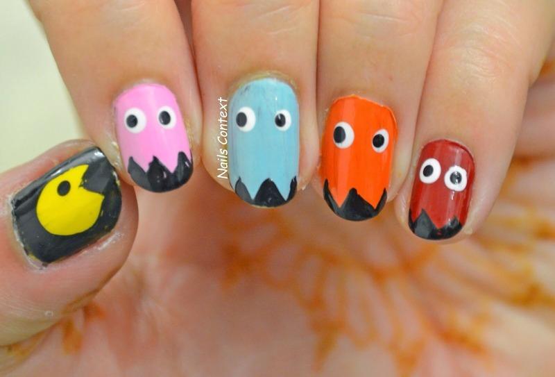 PAC-MAN nails nail art by NailsContext