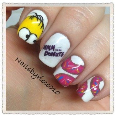 Mmm....Donuts!! nail art by Riece